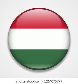 Flag of Hungary. Round glossy badge
