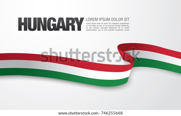 Flag of Hungary, vector illustration, card layout design