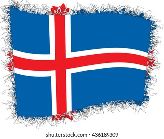 Flag of Iceland, also called the Republic of Iceland. Vector illustration of a stylized flag. Shaggy edge.