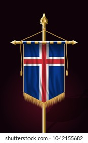 Flag of Iceland. Festive Vertical Banner. Wall Hangings with Gold Tassel Fringing
