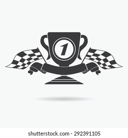 Flag icon. Checkered or racing flags first place prize cup and finish ribbon. Sport auto, speed and success, competition and winner, race rally, vector illustration.