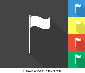 flag icon - gray and colored (blue, yellow, red, green) vector illustration with long shadow