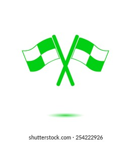 Flag icon. Location marker symbol. ���¡heckered flags sign. Flat design style.
