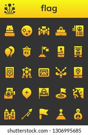 flag icon set. 26 filled flag icons.  Simple modern icons about  - Castle, Fireworks, Full moon, Race car, Peace, Balloons, Flag, Gps, Mail box, Atomium, Golf, Pirate, Climbing