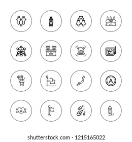 Flag icon set. collection of 16 outline flag icons with atomium, big ben, castle, fireworks, football, flag, japan, meteorite, peace, navigation, ribbon icons.