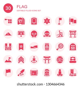 flag icon set. Collection of 30 filled flag icons included Offside, Mail box, Gps, Shuriken, Corner, Dune, Penalty, Skull, Climbing, Castle, Bookmark, Dunes, Search mail, Rank