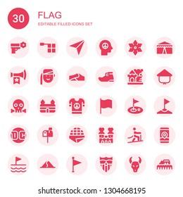 flag icon set. Collection of 30 filled flag icons included Peace, Offside, Navigator, Shuriken, Vuvuzela, Armenian, Dunes, Leprechaun shoe, Castle, Skull, Flag, Golf, Dc, Letterbox