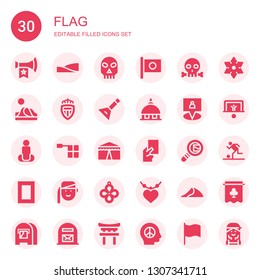 flag icon set. Collection of 30 filled flag icons included Vuvuzela, Dunes, Skull, Japan, Dune, Monaco, Balalaika, Vatican, Gps, Position, Offside, Circus, Red card, Search mail