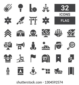 flag icon set. Collection of 32 filled flag icons included Bookmark, Football shoes, Offside, Position, Gps, Big ben, Red card, Mail box, Flag, Climbing, Peace, Search mail, Armenian