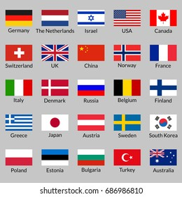 Flag icon set. National flags of USA, UK, Holland, Germany, Italy, Canada, France, Russia, China, Finland, Norway, Sweden, Australia,  Israel, Japan, Switzerland, Korea, Belgium, Finland. Vector.