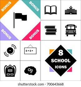 Flag Icon and Set Perfect Back to School pictogram. Contains such Icons as Schoolbook, School  Building, School Bus, Textbooks, Bell, Blackboard, Student Backpack, Brain Learn