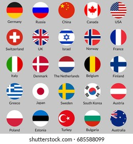 Flag icon set. Round or circle flags of USA, UK, Holland, Germany, Italy, Canada, France, Russia, China, Finland, Norway, Sweden, Australia,  Israel, Japan, Switzerland, Korea. Vector illustration.