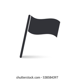 Flag icon, vector grey simple isolated illuatration with shadow.