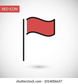 Flag icon vector illustration. Linear symbol with thin outline. The thickness is edited. Minimalist style.