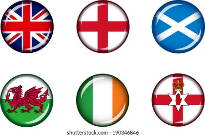 Flag Icons of the British Isles. Vector graphic images of glossy flag icons representing countries and regions within the British Isles.