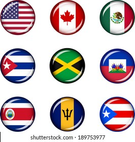 Flag Icons of North America. Vector graphic images of glossy flag icons representing countries within North America.