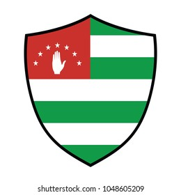 A Flag Illustration of Abkhazia, National flag of Abkhazia: green and white horizontal stripes, red rectangle with hand and stars in upper left corner.