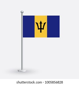 Flag Illustration of the country of Barbados. National Barbados flag isolated on gray background. Barbados Flag Flat Web Mobile Icon / Vector / Sign / Symbol / Button illustration EPS10
