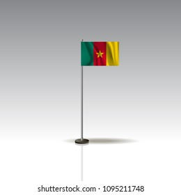 Flag Illustration of the country of CAMEROON. National CAMEROON flag isolated on gray background. CAMEROON Flag Flat Web Mobile Icon / Vector / Sign / Symbol / Button illustration EPS10