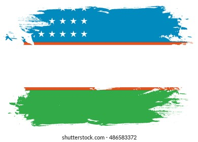 A Flag Illustration of the country of Uzbekistan