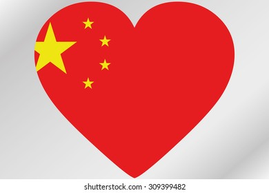 A Flag Illustration of a heart with the flag of China