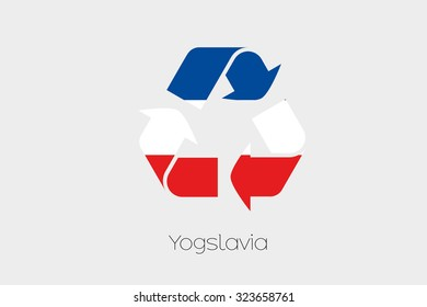 A Flag Illustration inside a Recycling Icon of the country of Yugoslavia