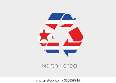 A Flag Illustration inside a Recycling Icon of the country of North Korea