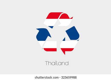A Flag Illustration inside a Recycling Icon of the country of Thailand