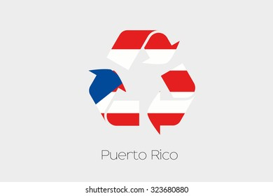 A Flag Illustration inside a Recycling Icon of the country of Puerto Rico