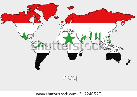 Flag illustration inside shape world map stock vector royalty free a flag illustration inside the shape of a world map of the country of iraq gumiabroncs Images