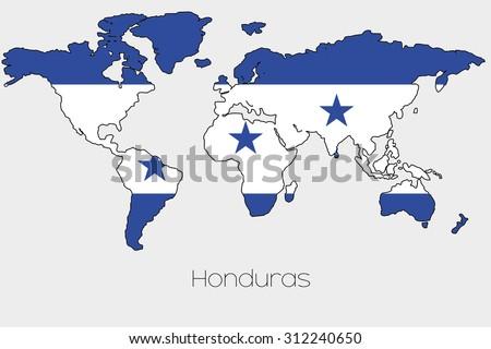 Flag Illustration Inside Shape World Map Stock Vector (Royalty Free ...