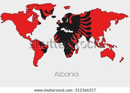 Flag Illustration Inside Shape World Map Stock Vector Royalty Free