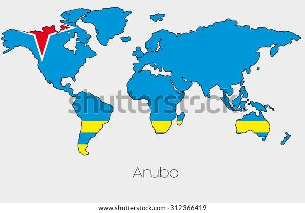 Flag Illustration Inside Shape World Map Stock Vector ...