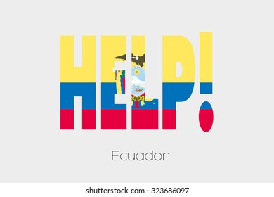 A Flag Illustration inside the word Help of the country of Ecuador