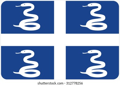 A Flag Illustration with rounded corners of the country of Martinique