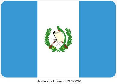 A Flag Illustration with rounded corners of the country of Guatemala