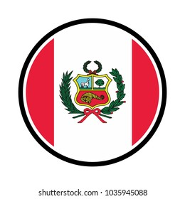 A Flag Illustration within a circle of the country of Peru, Peru Flag Glossy Button with highlights.