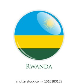 Flag Illustration Within A Circle Of The Country Of Rwanda isolated on white. Rwanda glossy round button. Vector Illustration EPS 10.