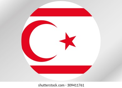 A Flag Illustration within a circle of the country of  Northern Cyprus