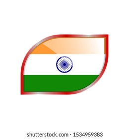 Flag Illustration Within A modern rectangle Of The Country Of India. India glossy Button. India national Flag glossy rectangle button. EPS 10