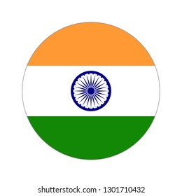 Flag of India. Circular icon on white background, vector illustration.