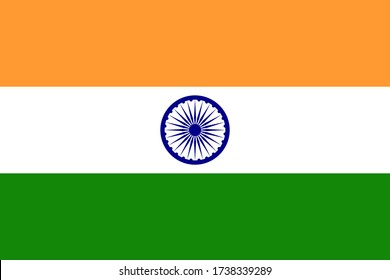 Flag of India with correct color and proportion. National Indian flag vector.