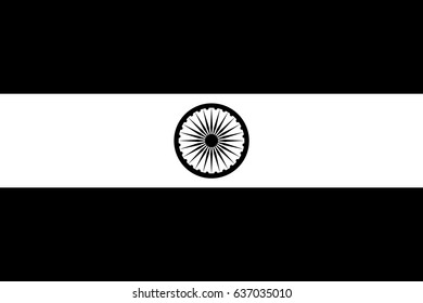 Flag of India, Indian flag black and white style