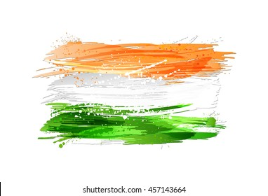 Flag of India made with colorful splashes isolated on white background. Paint smears, grunge texture. Vector illustration.