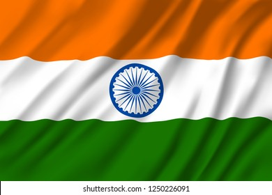 Flag of India, national three colors with round emblem in middle. Heraldry republic country sign with Ashoka Chakra, 24 spoke wheel. Windy textile Indian flag or banner for national holiday greetings