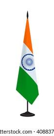Flag of India on a flagstaff. Vector illustration