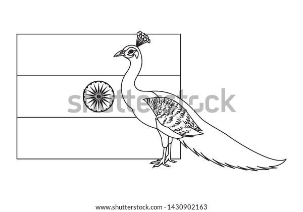 flag india peacock icon cartoon black stock vector royalty free 1430902163 shutterstock