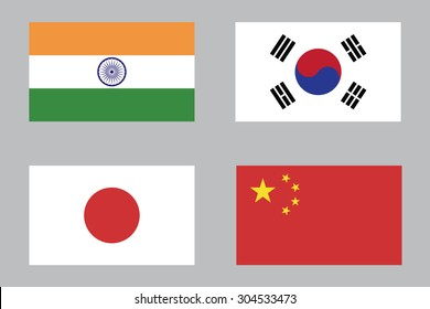 Flag of India , South Korea , Japan and China