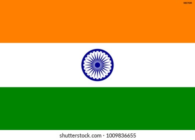Flag of India. Symbol of Independence Day, souvenir soccer game, button language, icon.