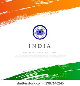 Flag of india Vector illustration on white background. Brush strokes drawn by hand. Independence Day.